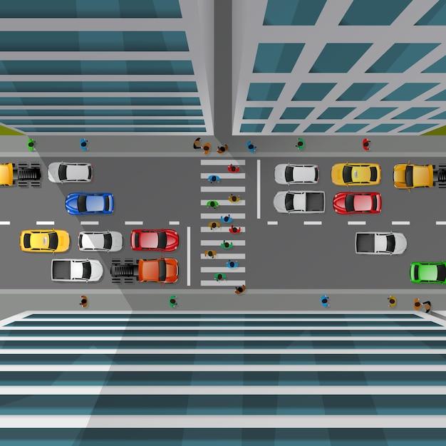 Stadsverkeer bovenaanzicht Gratis Vector