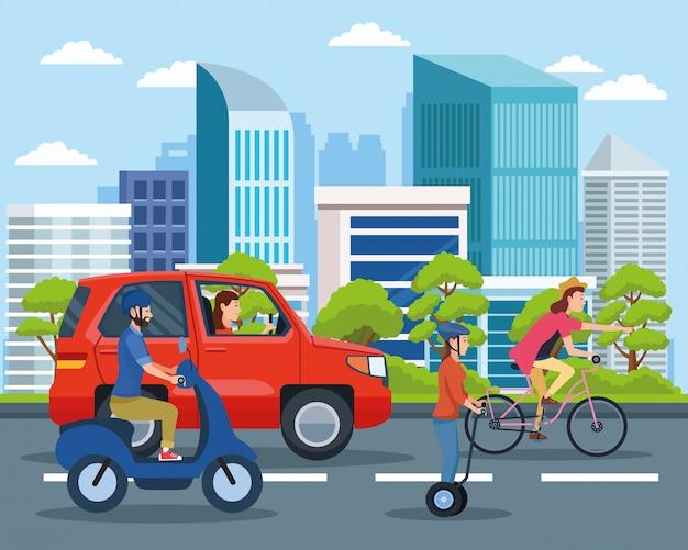 Stadsvervoer en mobiliteitscartoons Premium Vector