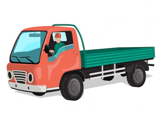 Stadsvrachtwagen met chauffeur Premium Vector