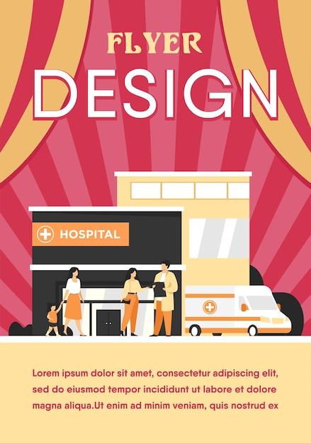 Stadsziekenhuis gebouw. patiënt in gesprek met arts bij ingang, ambulanceauto geparkeerd bij kliniek. flyer-sjabloon Gratis Vector