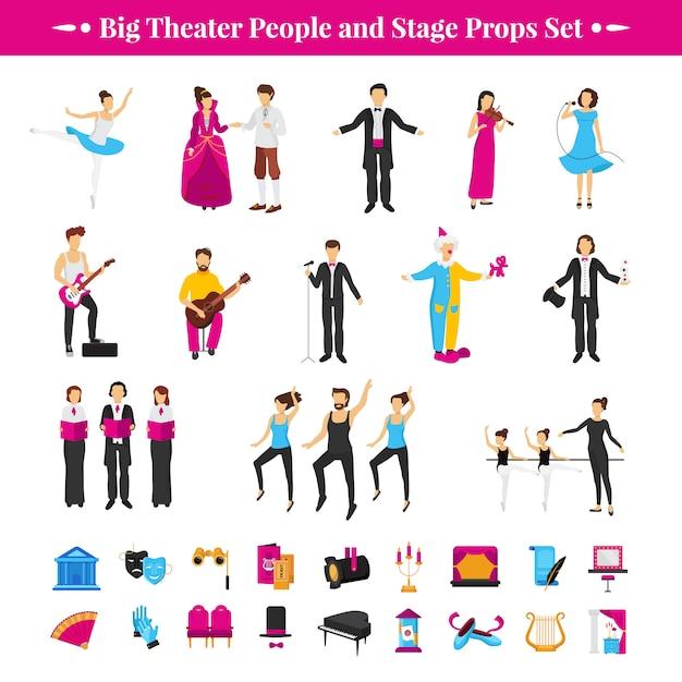 Stage rekwisieten geplaatst met acteurs dansers en muzikanten Gratis Vector