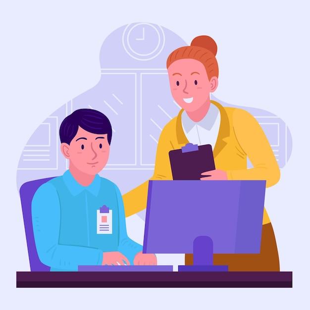 Stagiair en mentor werkzaam op kantoor Gratis Vector
