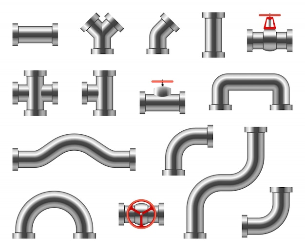 Stalen buizen. metalen pijpleidingconnectoren, fittingen, kleppen, industrieel sanitair voor water en gas vector set geïsoleerd Premium Vector