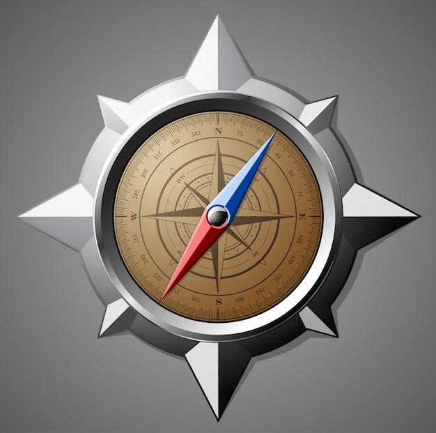 Stalen kompas met schaalverdeling Premium Vector