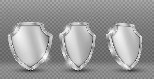 Stalen schild vector iconen set, gouden ridder munitie Gratis Vector
