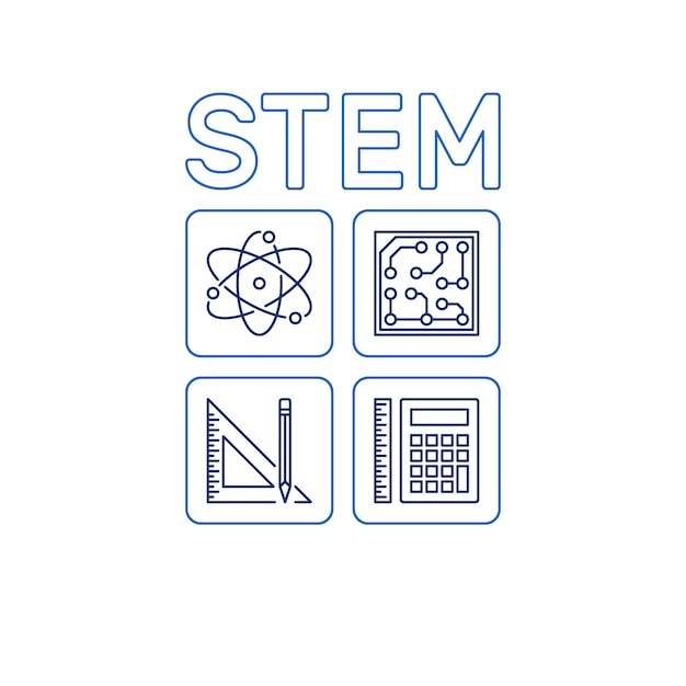Stam woord met pictogrammen. vector wetenschap overzicht illustratie Premium Vector