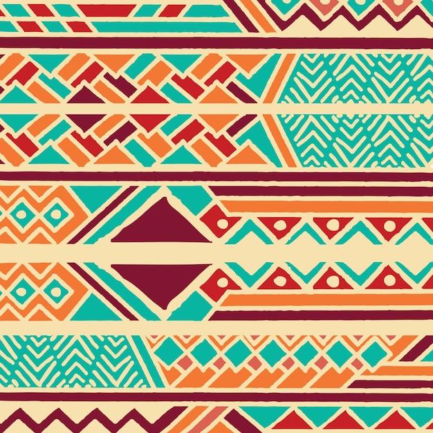 Stammen etnisch kleurrijk boheems patroon met geometrische elementen, afrikaanse moddeldoek, stammenontwerp Premium Vector