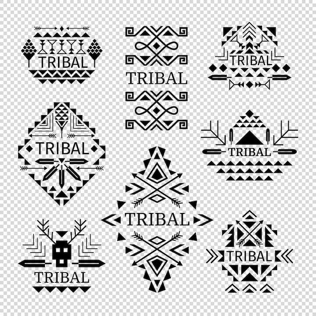 Stammenemblemen die in zwarte kleur, vectorillustratie worden geplaatst Premium Vector