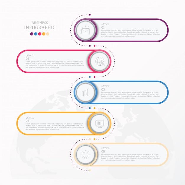 Standaard infographic met pictogrammen bedrijfs. Premium Vector