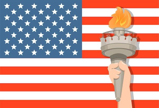 Standbeeld van liberty-hand met toorts en de vlag van de vs Premium Vector