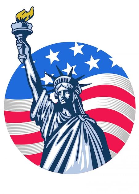 Standbeeld van vrijheid met de vlag van de vs als achtergrond Premium Vector