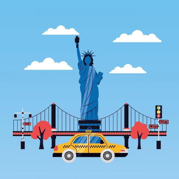Standbeeld van vrijheid stad wolkenkrabber Gratis Vector