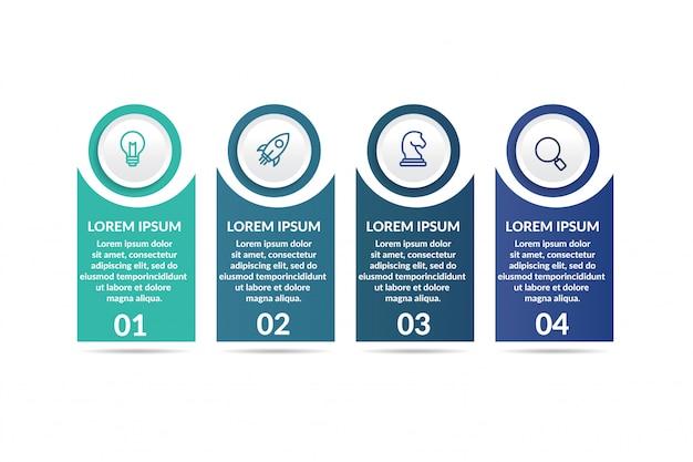 Stap infographic sjabloon voor presentatie Premium Vector