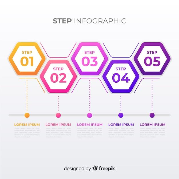 Stap infographic Gratis Vector