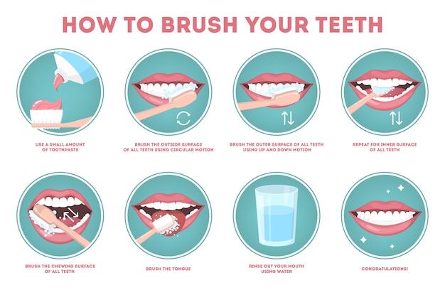 Stap voor stap instructies hoe u uw tanden poetst. tandenborstel en tandpasta voor mondhygiëne. schone witte tand. gezonde levensstijl en tandheelkundige zorg. geïsoleerde platte vectorillustratie Premium Vector
