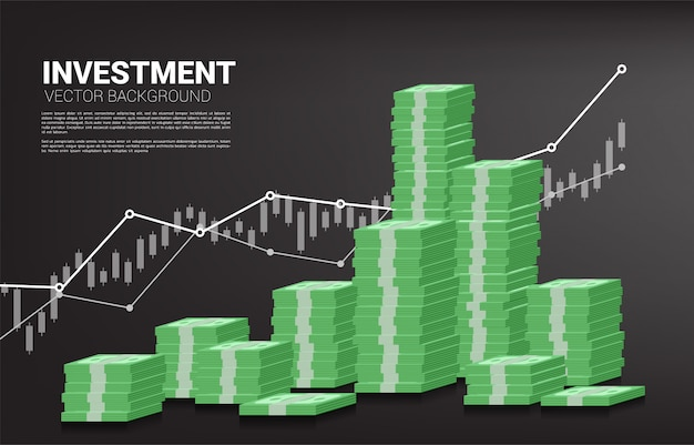 Stapel bankbiljetten en goede zaken Premium Vector
