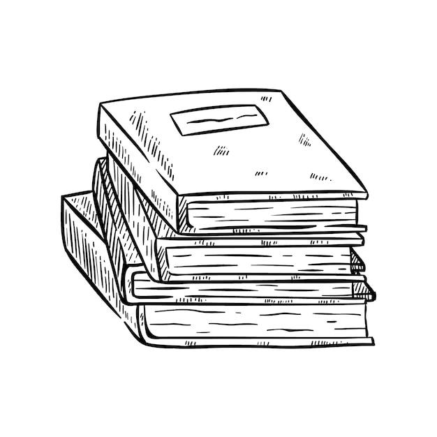 Stapel boeken met hand getrokken of schetsmatige stijl op wit Premium Vector