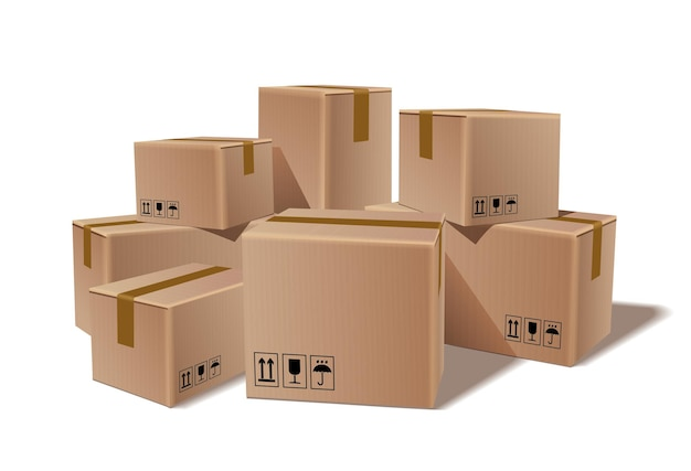Stapel gestapelde verzegelde goederen kartonnen dozen Premium Vector