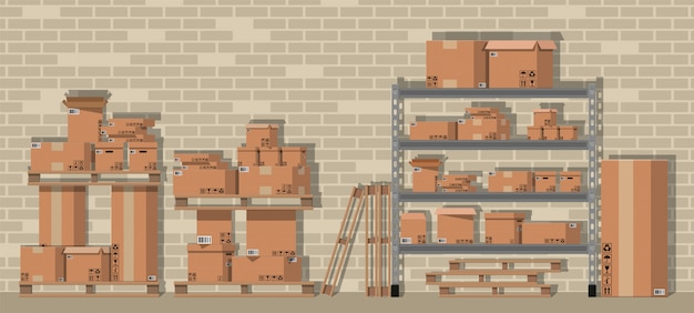Stapel kartonnen dozen op planken in magazijn Premium Vector
