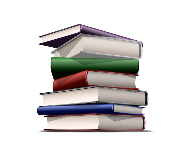 Stapel kleurrijke boeken geïsoleerd op wit Premium Vector