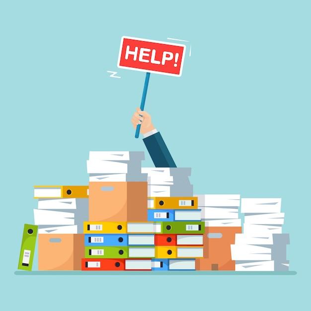 Stapel papier, stapel documenten met karton, kartonnen doos. benadrukt werknemer in hoop papierwerk. drukke zakenman met helpteken. bureaucratie concept. tekenfilm Premium Vector