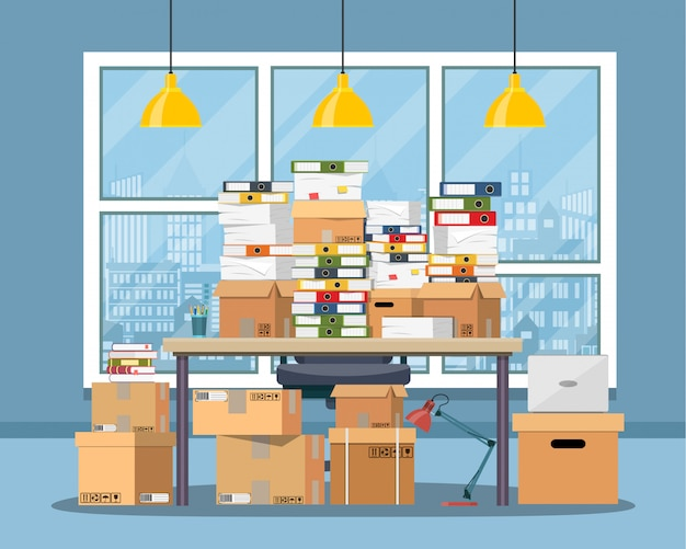 Stapel papieren documenten op kantoor tafel. Premium Vector