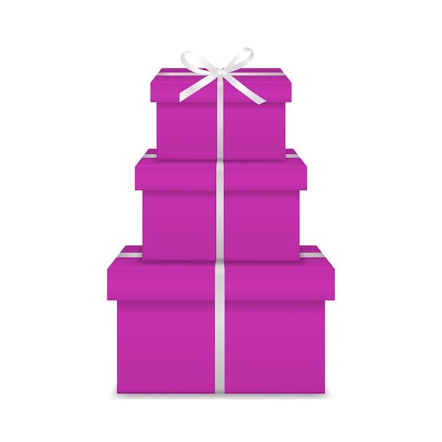 Stapel van drie realistische roze geschenkdozen met wit lint en boog Premium Vector