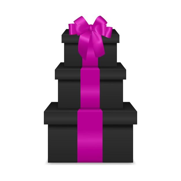 Stapel van drie realistische zwarte geschenkdozen met roze lint en boog Premium Vector