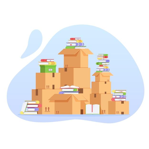 Stapel van kartonnen dozen en boeken Premium Vector