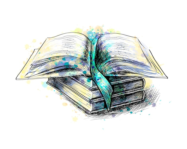 Stapel veelkleurige boeken en open boek uit een scheutje aquarel, hand getrokken schets. illustratie van verven Premium Vector