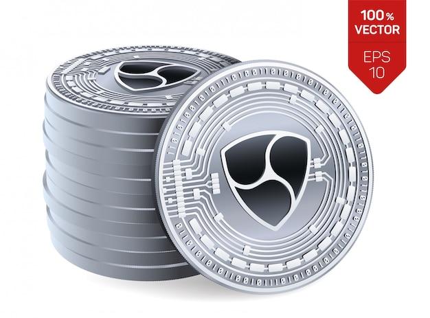 Stapel zilveren muntstukken met nem-symbool dat op witte achtergrond wordt geïsoleerd. Gratis Vector