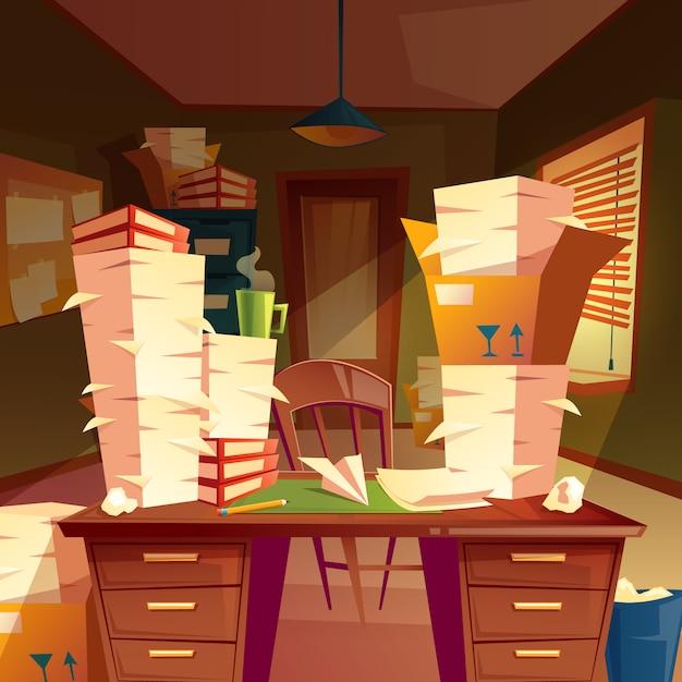 Stapels papier in leeg kantoor, papierwerk, mappen, documenten in dozen Gratis Vector