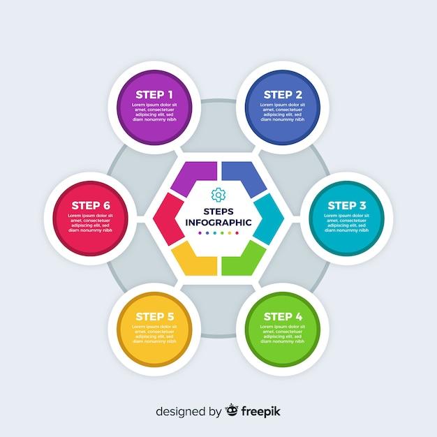 Stappen infographic met kleurrijke vormen Gratis Vector