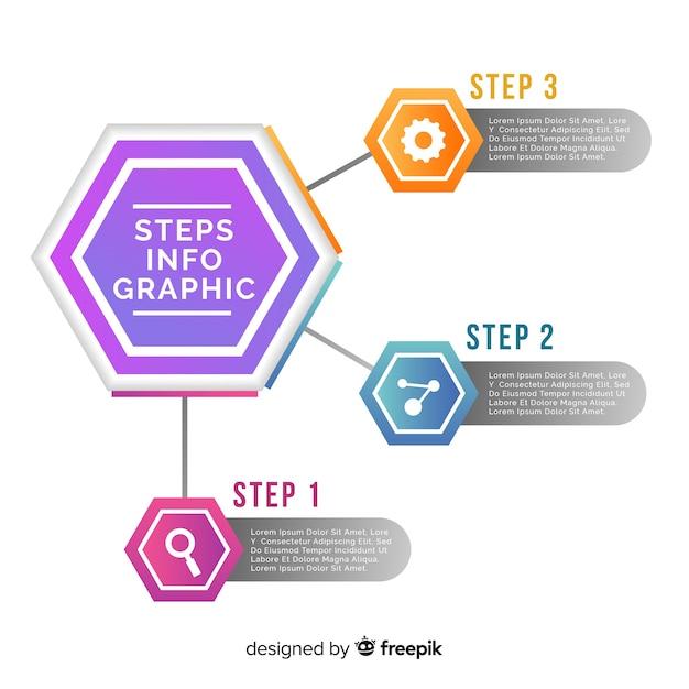 Stappen infographic met zeshoekige vormen Gratis Vector