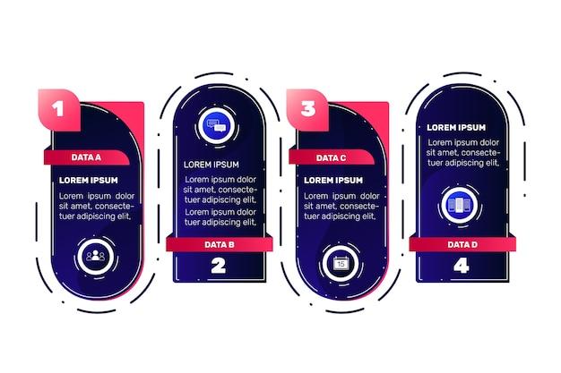 Stappen infographic verzamelingsthema Gratis Vector