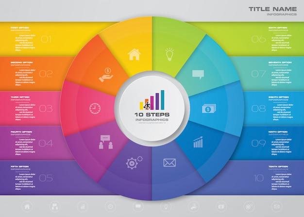 Stappen infographics element sjabloongrafiek voor presentatie. Premium Vector