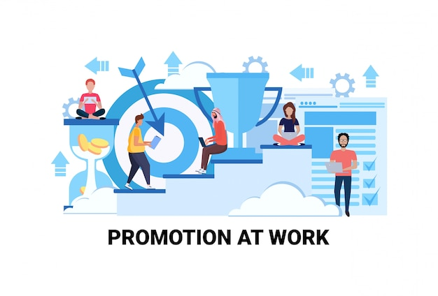Stappen naar succes carrière groei promotie op het werk concept succesvolle strategie Premium Vector