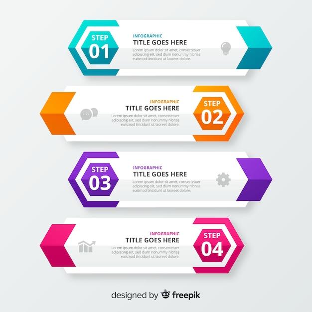 Stappen zakelijke infographic sjabloon Gratis Vector