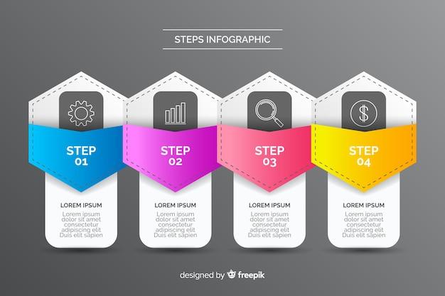 Stappenstijl infographic voor het bedrijfsleven Gratis Vector