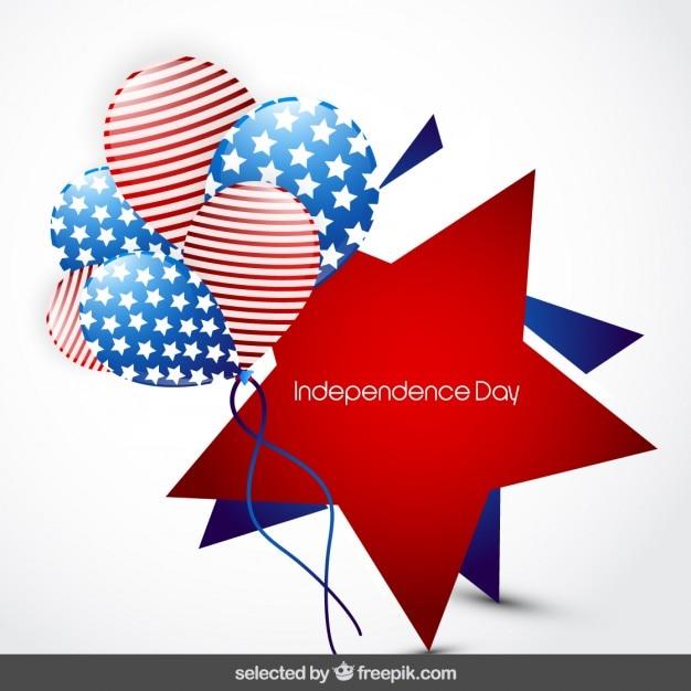 Star kenteken van de onafhankelijkheid dag met ballonnen Gratis Vector