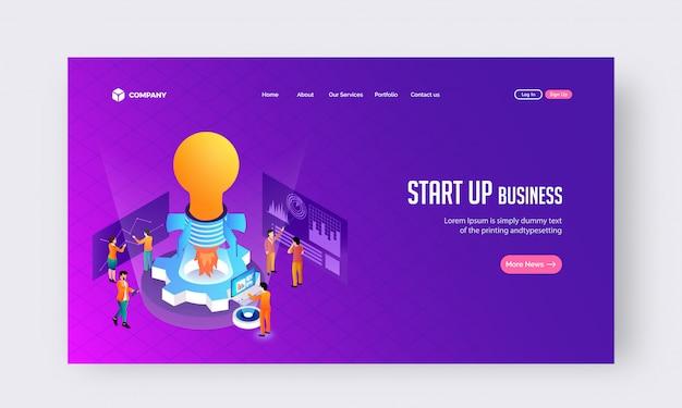 Start business concept website of bestemmingspagina ontwerp. Premium Vector