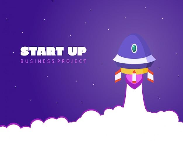 Start concept ruimte achtergrond met raket en planeten Premium Vector