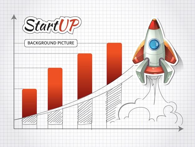 Start een nieuw zakelijk project infographic met raket. prestatie en begin, grafisch succes Gratis Vector