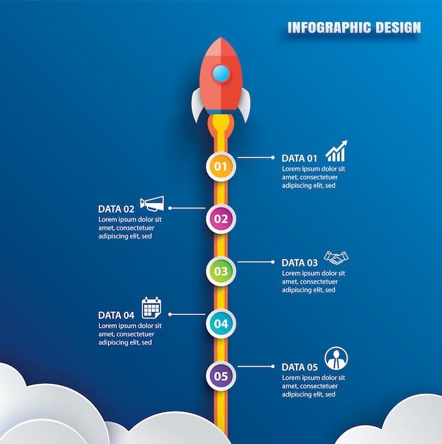 Start infographics met 5 cirkel verticale gegevenssjabloon. Premium Vector