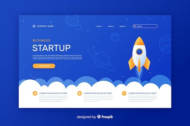 Start-up bedrijfslandingspagina Gratis Vector