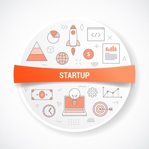 Startbedrijf met concept met ronde of cirkelvormillustratie Premium Vector