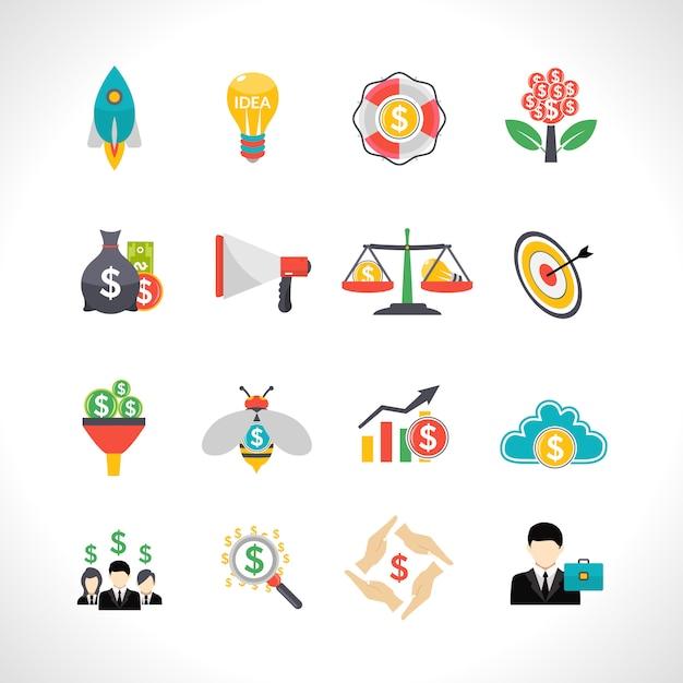 Startende crowdfunding vlakke geplaatste pictogrammen Gratis Vector