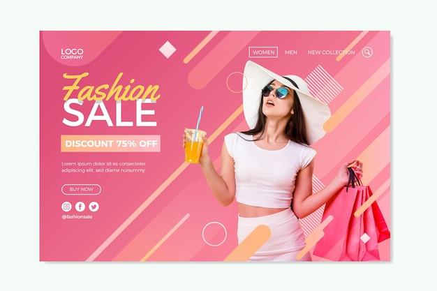 Startpagina met mode-uitverkoopthema Gratis Vector