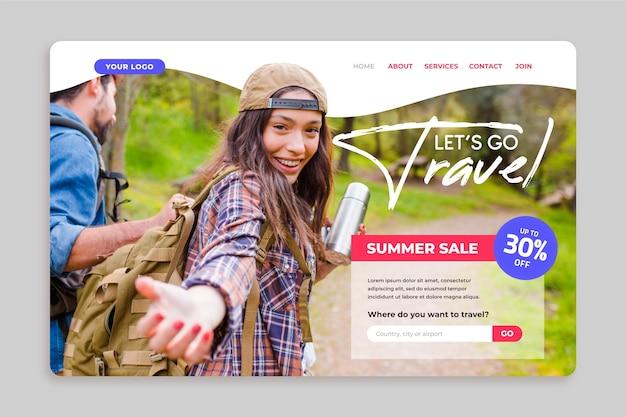 Startpagina voor reisverkoop met foto Gratis Vector