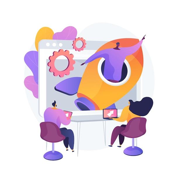 Startup abstract concept vectorillustratie. startlancering, ondernemerschap, nieuw bedrijfsidee, zelfstandige, zakelijke onderneming, mentoring, marktvalidatie en investeringen abstracte metafoor. Gratis Vector